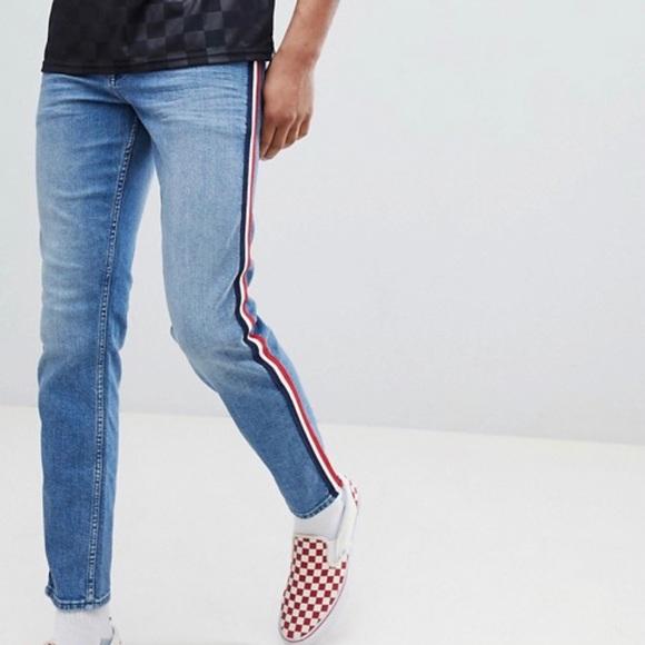 ASOS Other - ASOS Slim Mid Wash Blue Red White Stripe Jeans